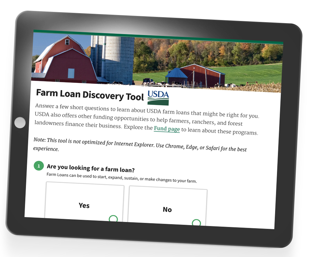 NEW: USDA Online Farm Loan Discovery Tool